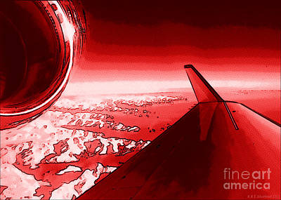 Digital Art - Red Jet Pop Art Plane by R Muirhead Art