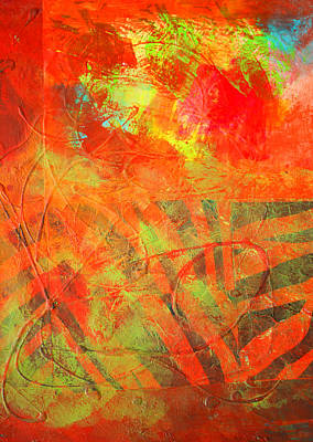 Red Leaves Mixed Media - Red Jungle Abstract by Nancy Merkle