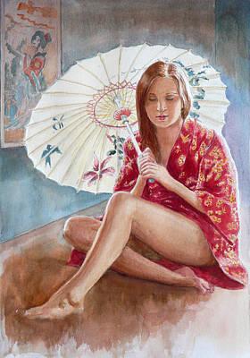 Red Kimono Art Print by Tomas OMaoldomhnaigh