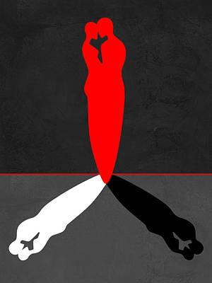Love Making Mixed Media - Red Kiss Shadow by Naxart Studio