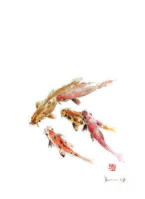 Handmade Painting - Red Koi Fish Fishes Orange Tangerine Caramel Brown Zodiac Pisces Watercolor Painting by Johana Szmerdt