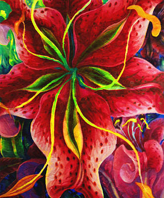 Tiger Lily Painting - Red Lady by Georgiana Romanovna