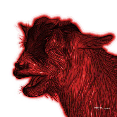 Animal Lover Digital Art - Red Laughing Goat - 0312 Fs by James Ahn