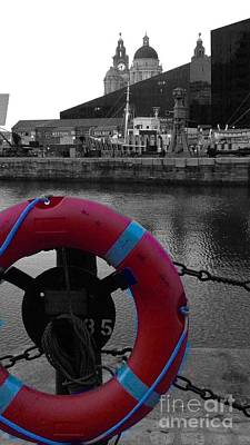 Photograph - Red Lifebelt At Albert Dock 2 by Joan-Violet Stretch