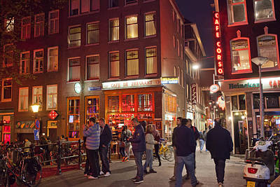 Red Light District In Amsterdam By Night Art Print by Artur Bogacki