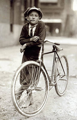 Bicycle Photograph - Red Light District Messenger Boy - 1913 by Daniel Hagerman