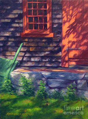 Red Light Grist Mill Door Art Print by Rosemarie Morelli