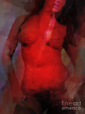 Nude Woman Torso Painting - Red Light Nude by Lutz Baar