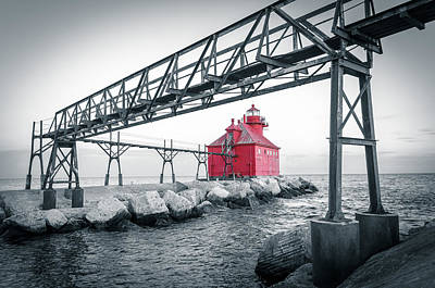 Photograph - Red Light On Lake Michigan by Mark David Zahn