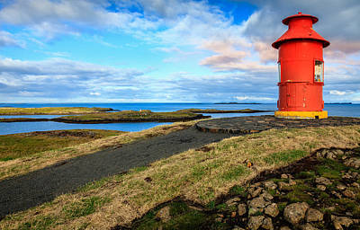 Landscapes Royalty-Free and Rights-Managed Images - Red lighthouse by Alexey Stiop