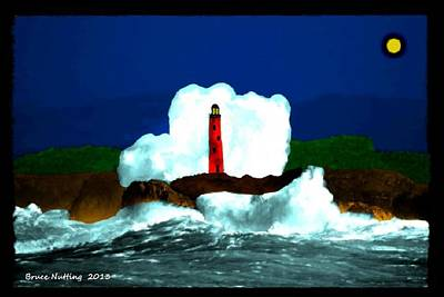 Moon Painting - Red Lighthouse At Night by Bruce Nutting