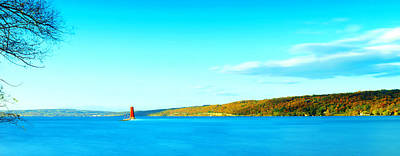 Red Lighthouse In Cayuga Lake New York Panoramic Photography Print by Paul Ge