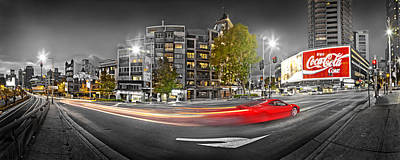 Skylines Royalty-Free and Rights-Managed Images - Red Lights Sydney Nights by Az Jackson
