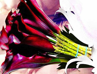 Asparagus Mixed Media - Red Lilies by Diane Cassone