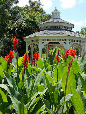Red Lily Gazebo Garden Art Print by Sheri McLeroy