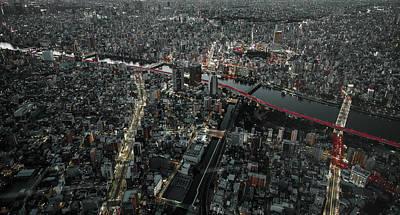 Red Line In The Dark Tokyo. Art Print