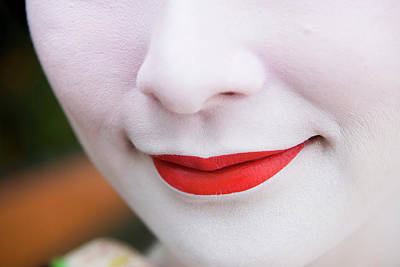 Photograph - Red Lips And White Make-up Of Young by Greg Elms