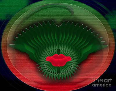 Lips Digital Art - Red Lips by Bedros Awak