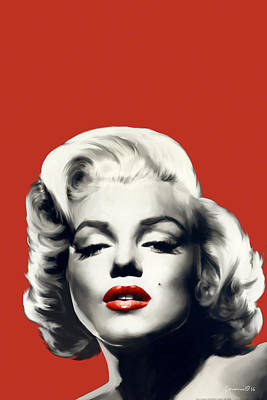 Portraits Of Celebrities Painting - Red Lips Marilyn In Red by Chris Consani