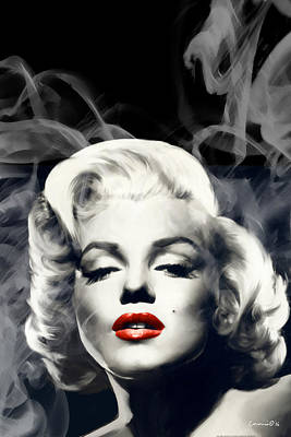 Portraits Of Celebrities Painting - Red Lips Marilyn In Smoke by Chris Consani