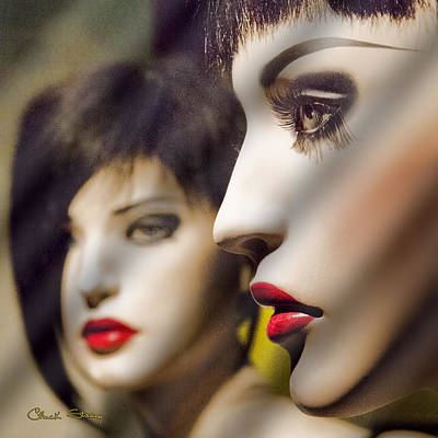 Novel Photograph - Red Lips - Black Heart by Chuck Staley