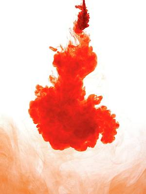 Red Abstract Photograph - Red Liquid Against Plain Background by Science Photo Library