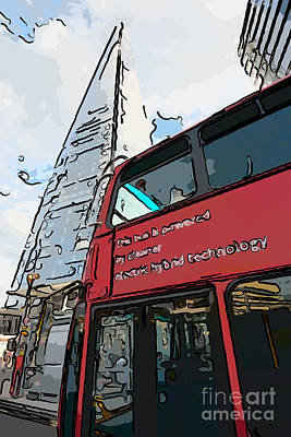 Tower Digital Art - Red London Bus And The Shard - Pop Art Style by Ian Monk