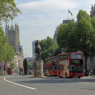 Photograph - Red London Bus In Whitehall by Tony Murtagh