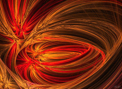 Impressionism Photos - Red Luminescence-Fractal Art by Lourry Legarde