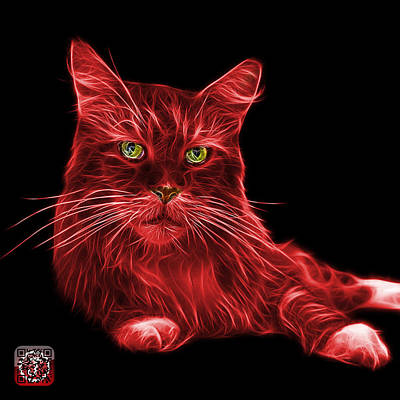 Painting - Red Maine Coon Cat - 3926 - Bb by James Ahn