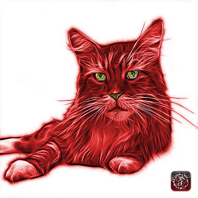 Painting - Red Maine Coon Cat - 3926 - Wb by James Ahn