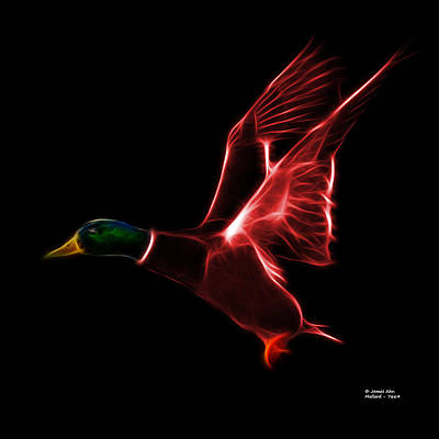 Mixed Media - Red Mallard Pop Art - 7664 - Bb by James Ahn