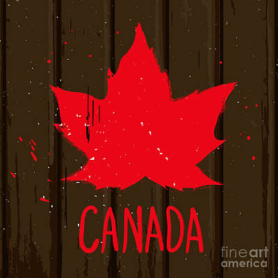 Spot Wall Art - Digital Art - Red Maple Leaf On Brown Wood Wall by Korinoxe