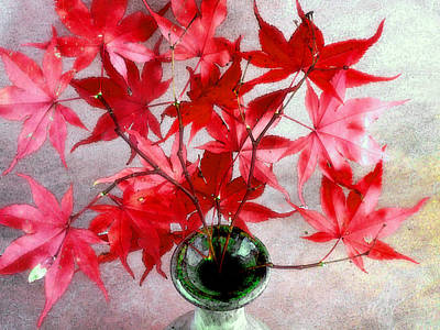 Photograph - Red Maple Leaves In A Green Vase by Louise Kumpf