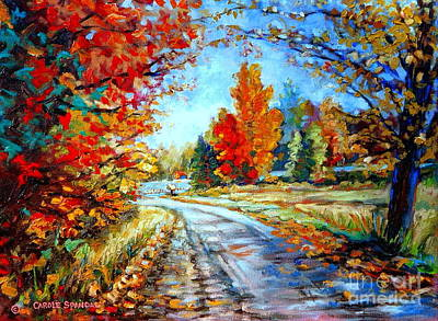 Painting - Red Maples Autumn Landscape Road Through Quebec by Carole Spandau