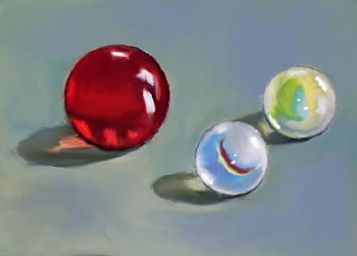 Red Marble And Friends Art Print by Joyce Geleynse