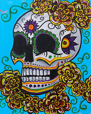 Saint-lo Painting - Red  Marigold Skull by Lovejoy Creations