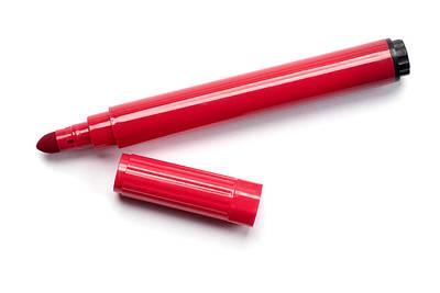 Ball Pen Work Photograph - Red Marker Pen by Donald  Erickson
