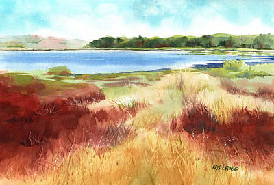 Flood Wall Art - Painting - Red Marsh by Kris Parins