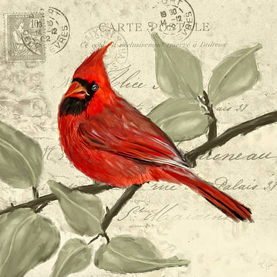 Cardinal Painting - Red Melody by Lourry Legarde