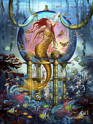 Red Mermaid Art Print by Ciro Marchetti