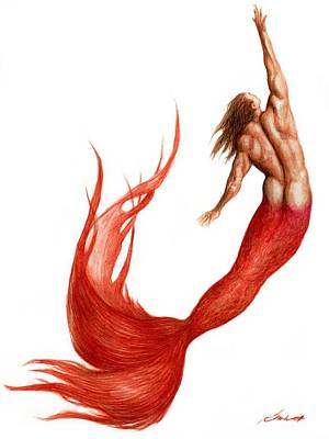Painting - Red Merman by Bruce Lennon