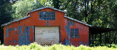 Photograph - Red Metal Barn by Holly Blunkall