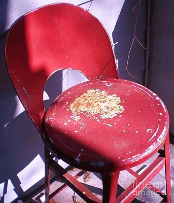 Red Metal Chair Art Print