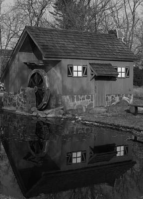 Photograph - Red Mill Black And White by Bill Woodstock