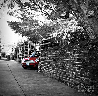 Photograph - Red Mini Cooper- The Debut by Nancy Dole McGuigan