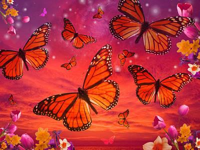 Red Monarch Sunrise Print by Alixandra Mullins