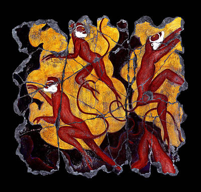 Minoan Painting - Red Monkeys No. 3 by Steve Bogdanoff