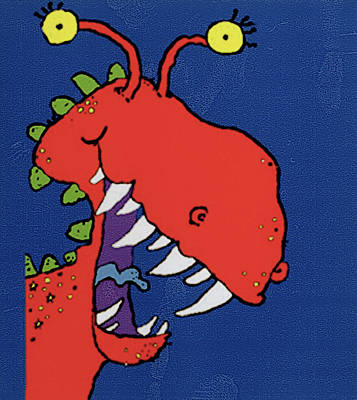 Silly Drawing - Red Monster by Maylee Christie