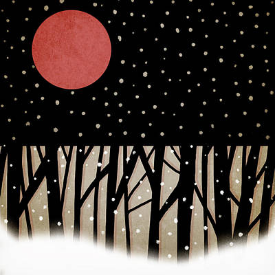 Snowy Night Photograph - Red Moon And Snow by Carol Leigh